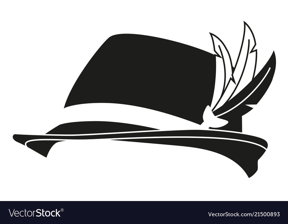 Black and white german feather hat silhouette