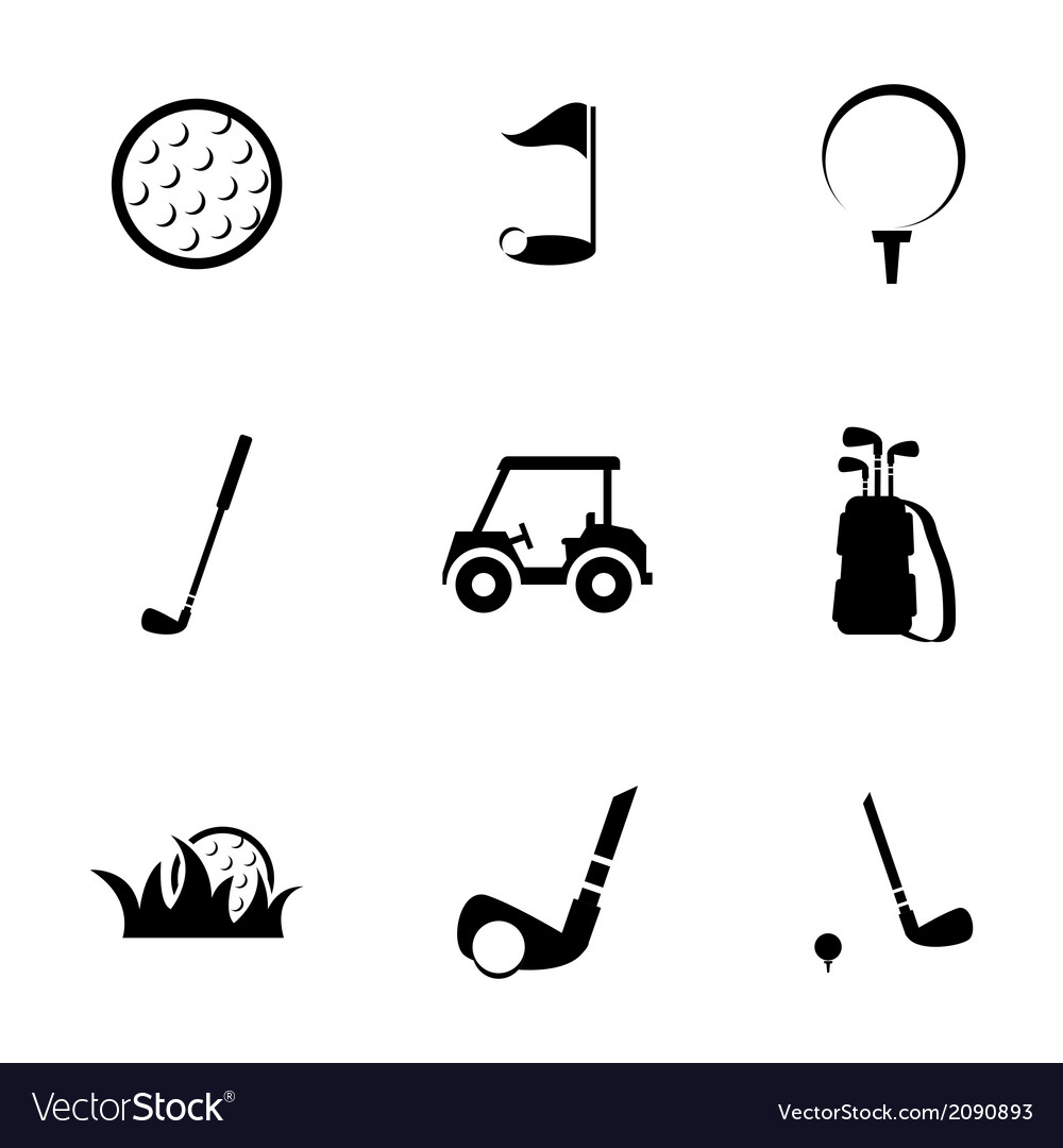 Black golf icons set