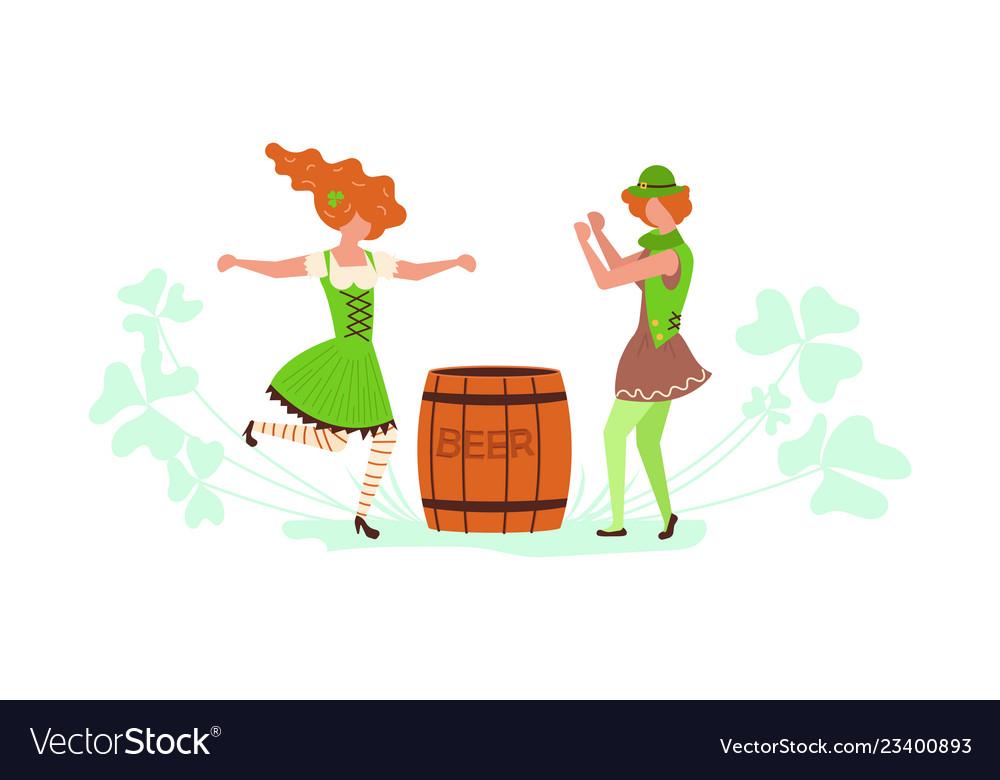 Cute cartoon leprechauns dancing