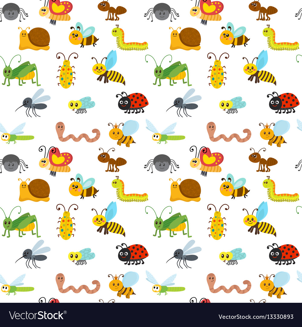 Cute cartoon seamless pattern with insects funny