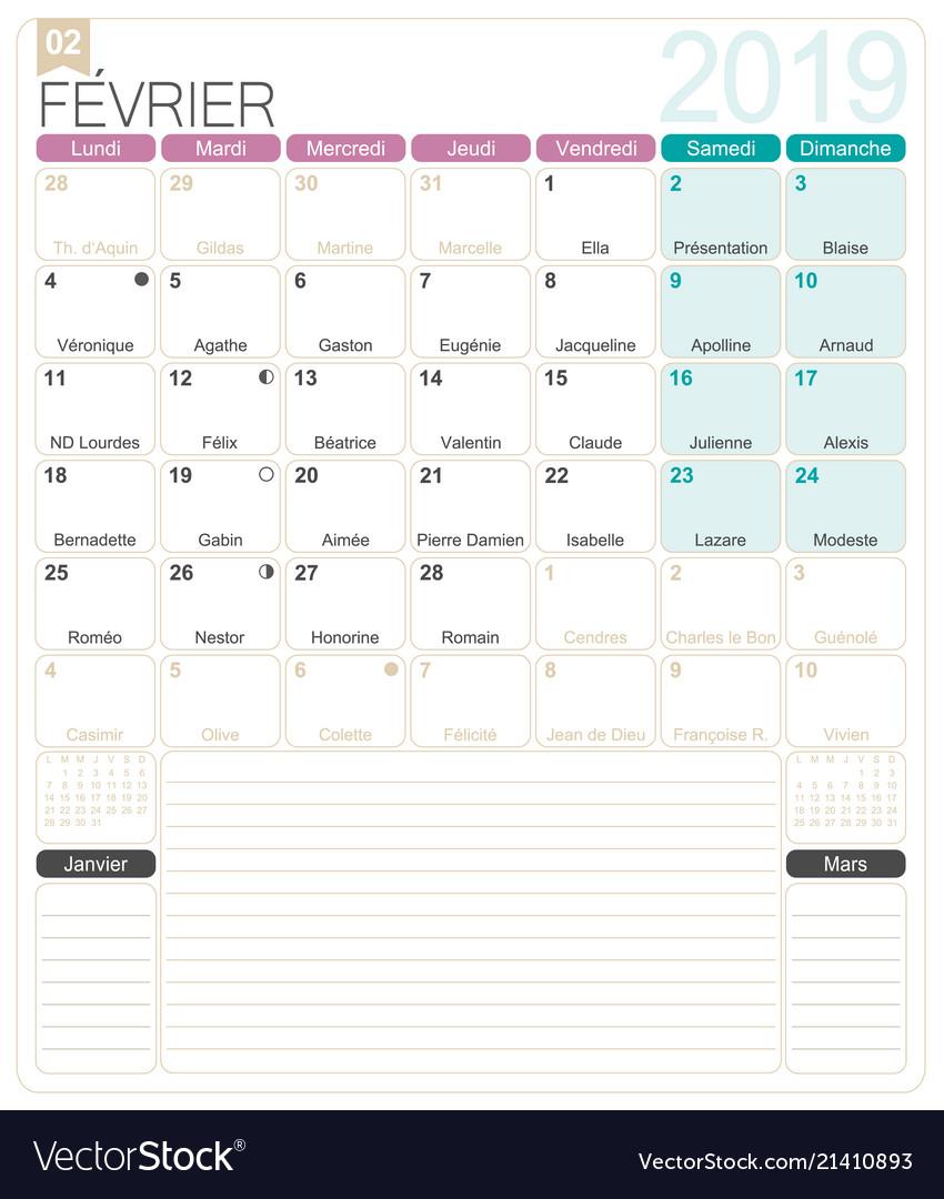 French Calendar February 2019 French calendar   february 2019 Royalty Free Vector Image