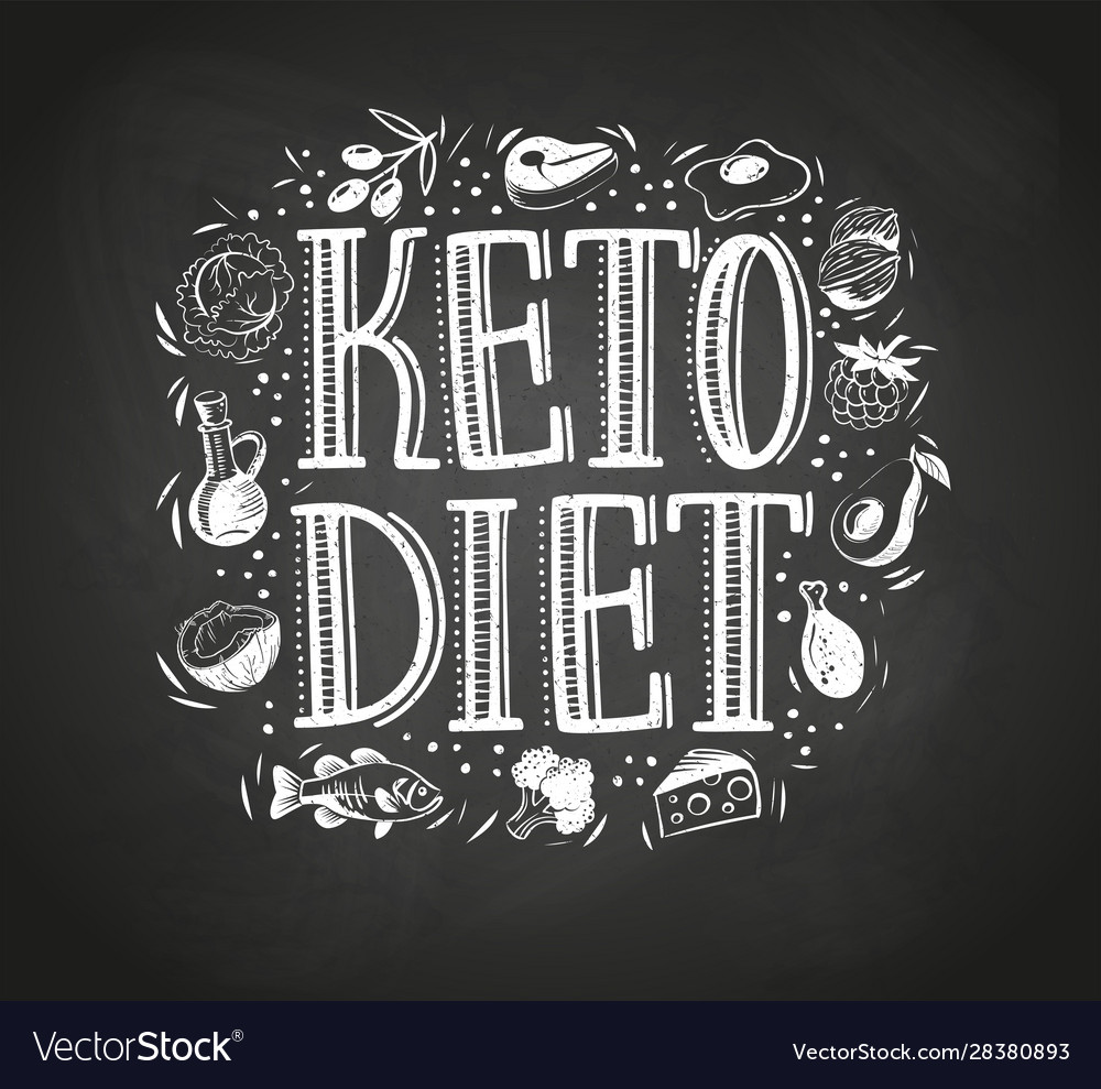 Hand drawn text keto diet with foods blackboard