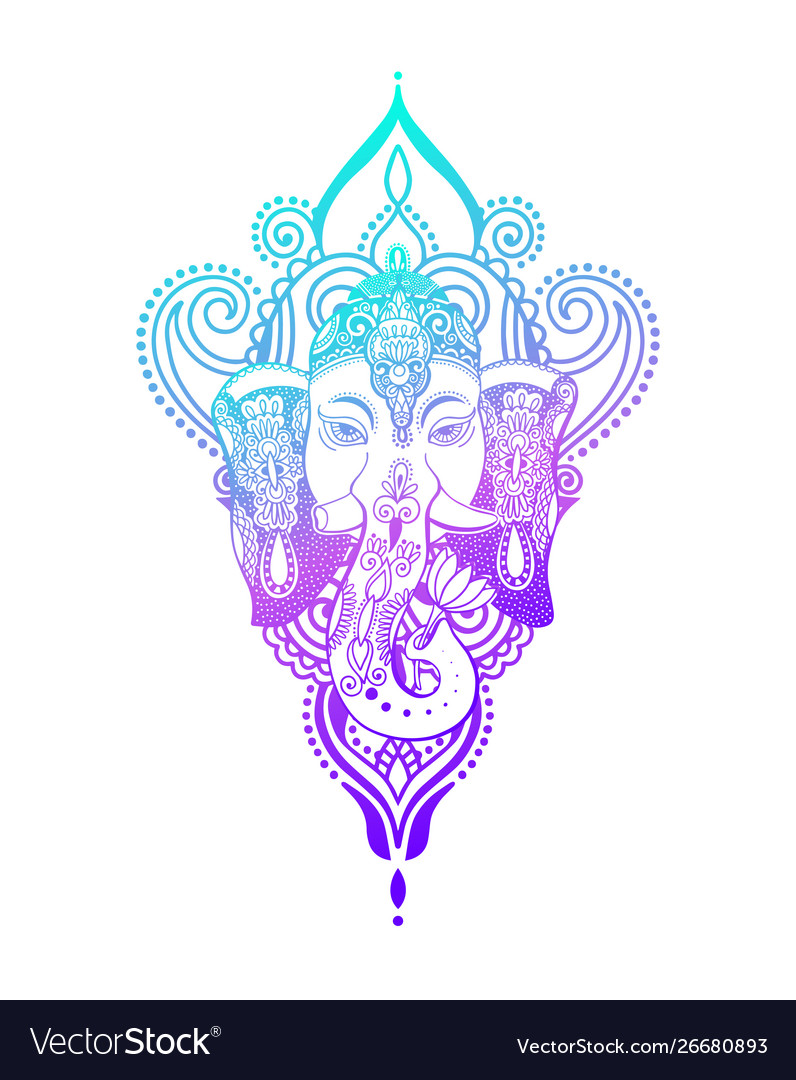 Lord ganesha head with lotus drawing - indian