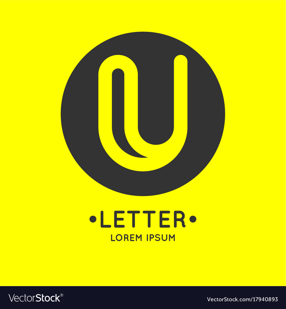 Modern linear logo and sign the letter u vector image