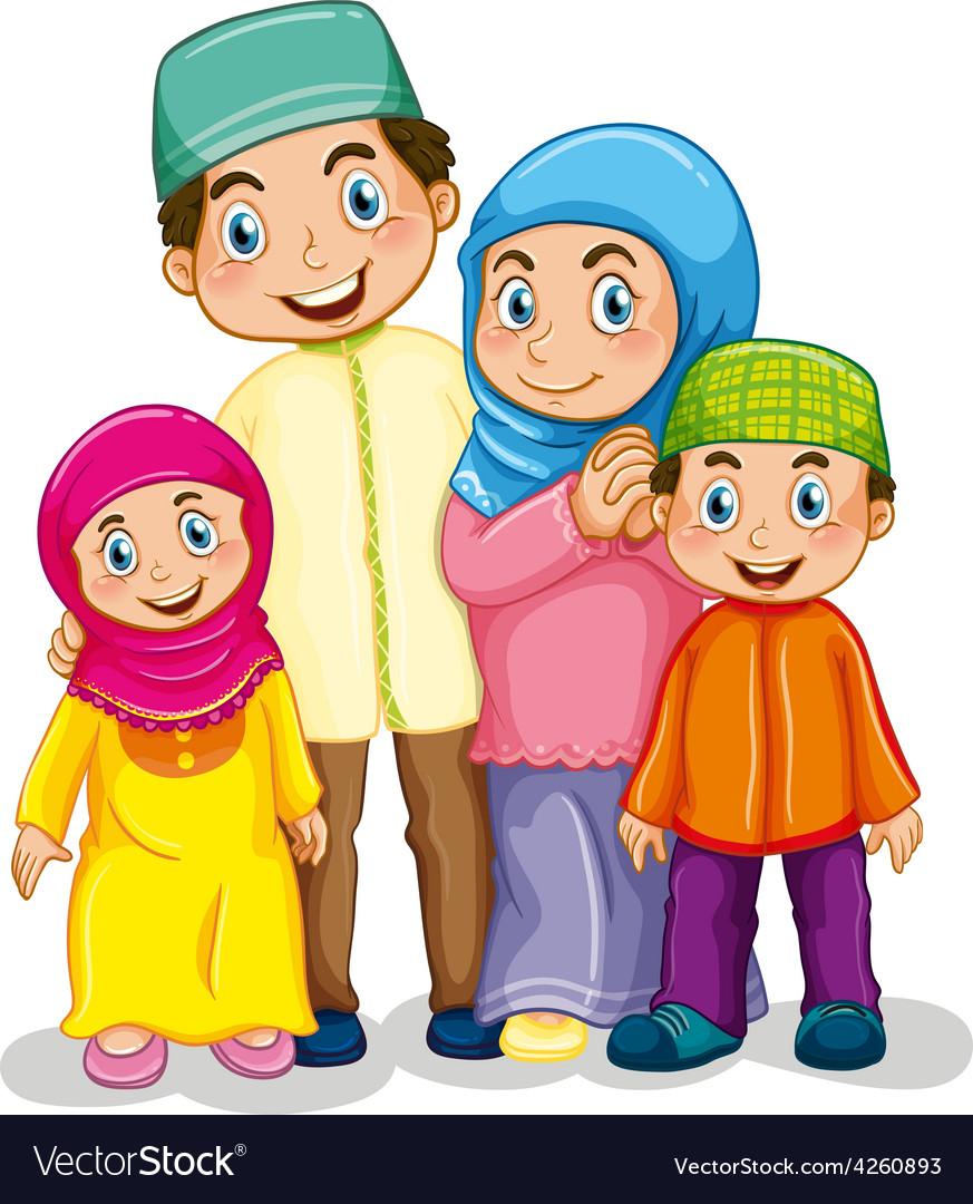 Muslim family Royalty Free Vector Image   VectorStock