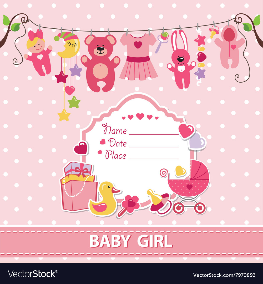 new born baby girl card shower invitation template