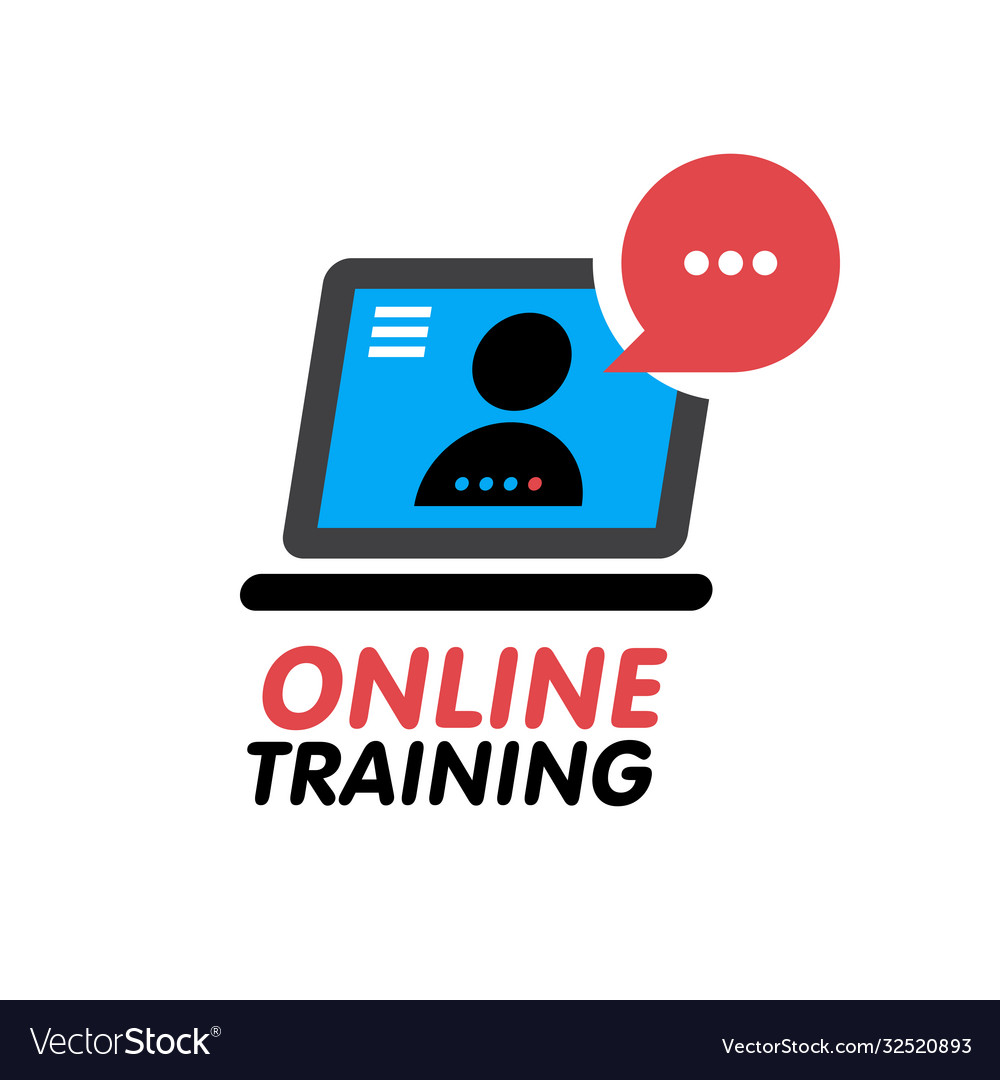 Online training concept icon simple blue element vector