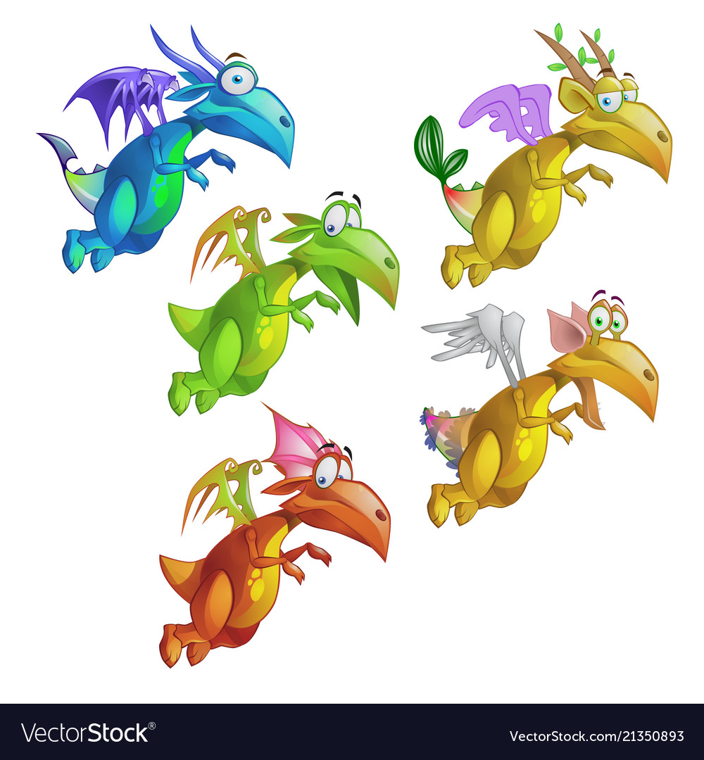 Set of funny animated colorful dragon isolated on