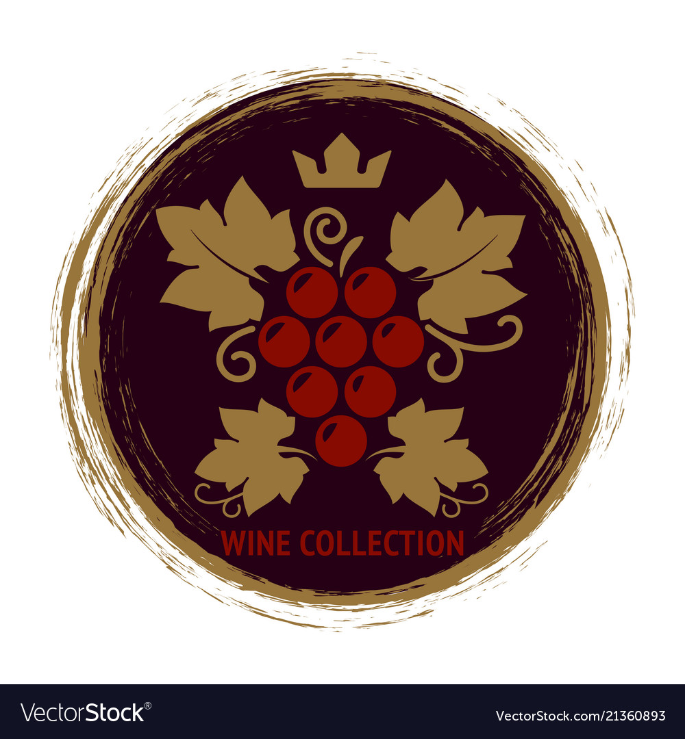 Wine label with grape and leaves