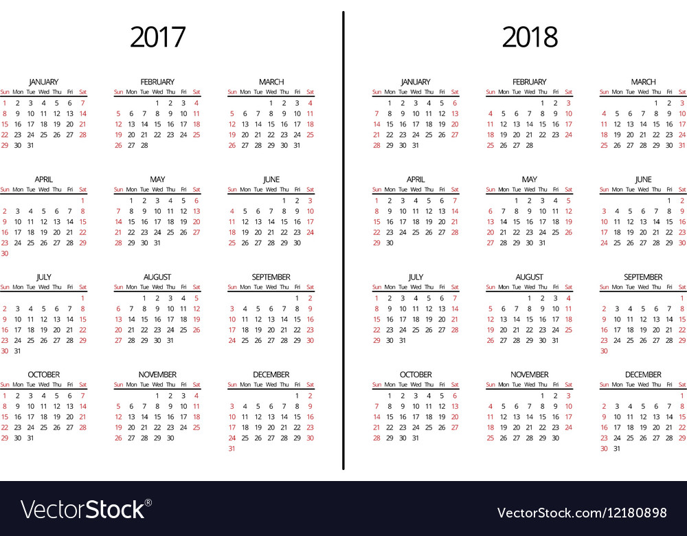 2017 year and 2018 calendar page simple vector image