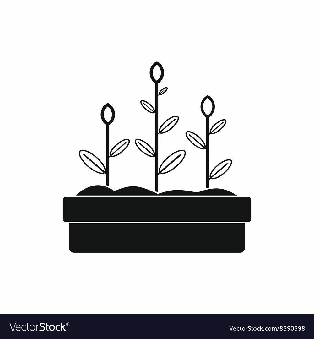 Abstract tulips flowers icon black simple style