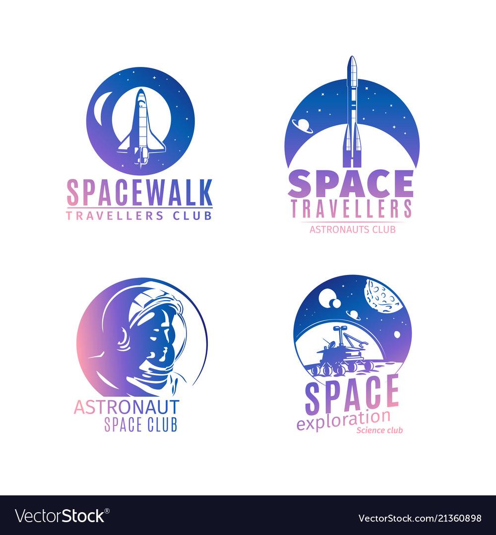 Colorful retro style space logo set