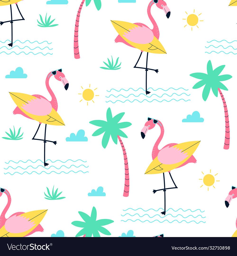 Cute flamingo print design seamless pattern