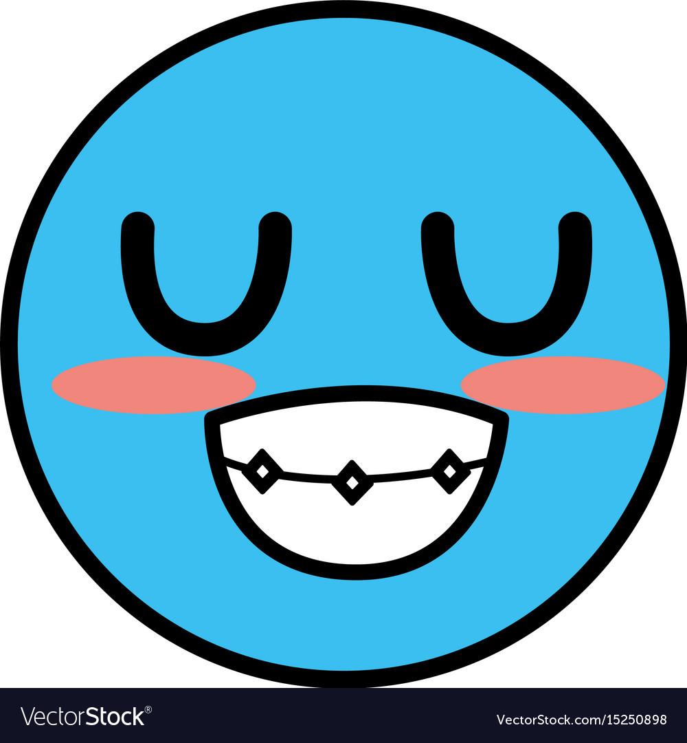 Cute kawaii beautiful face smile and happy vector image
