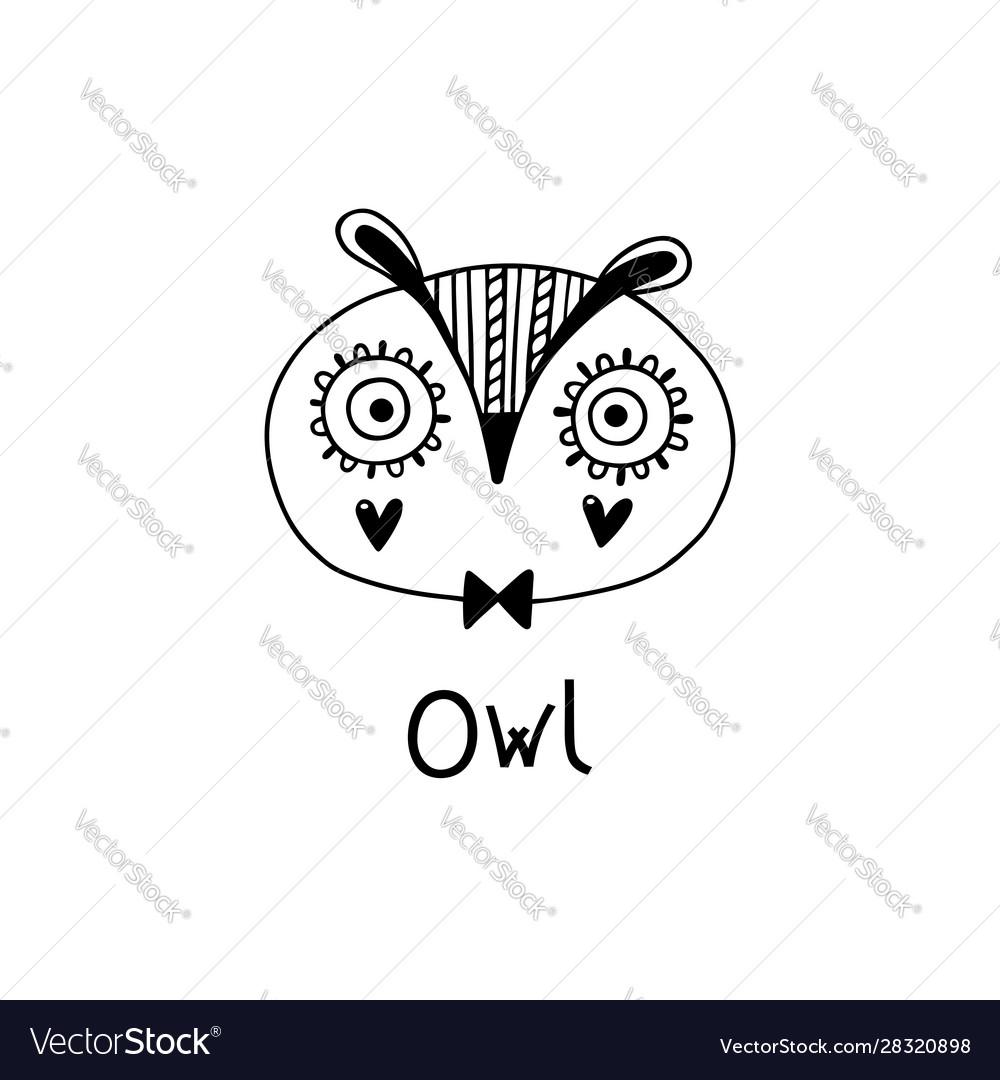 Cute simple owl face cartoon style