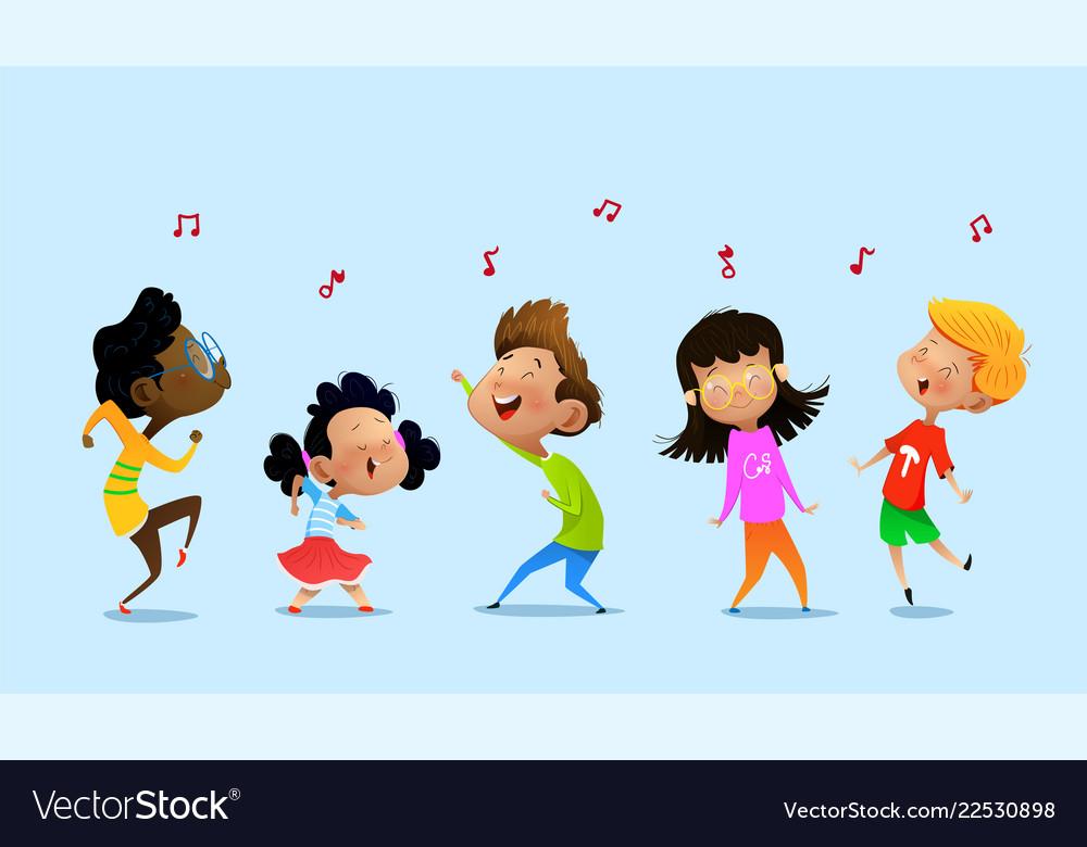 Dancing cartoon children Royalty Free Vector Image