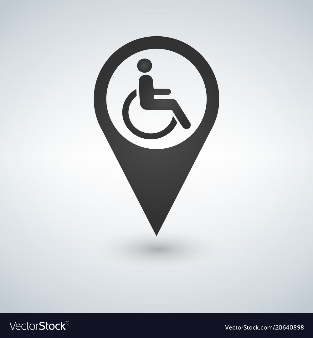 Disabled handicap sign in map pointer