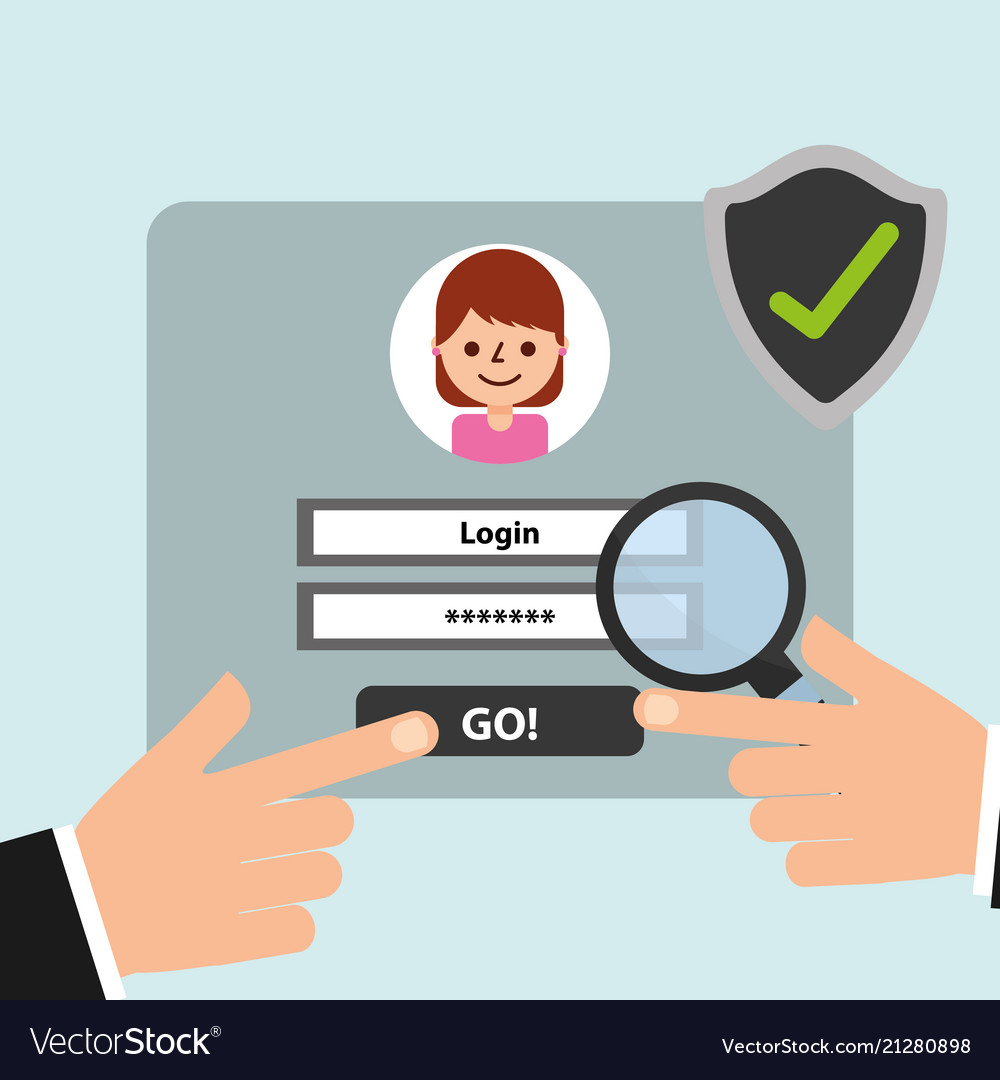 Hand website login magnifying glass and check mark