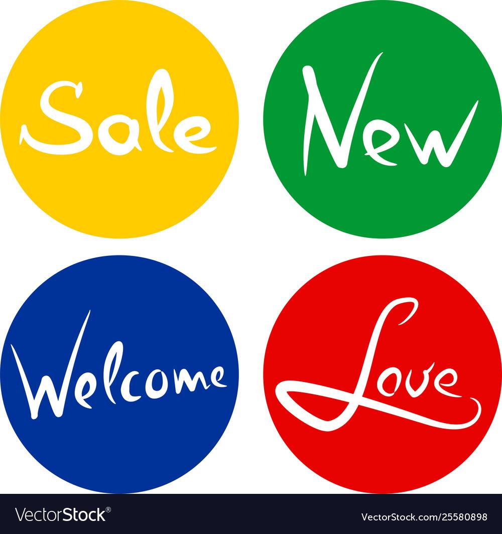 Handwritten words sale love new welcome