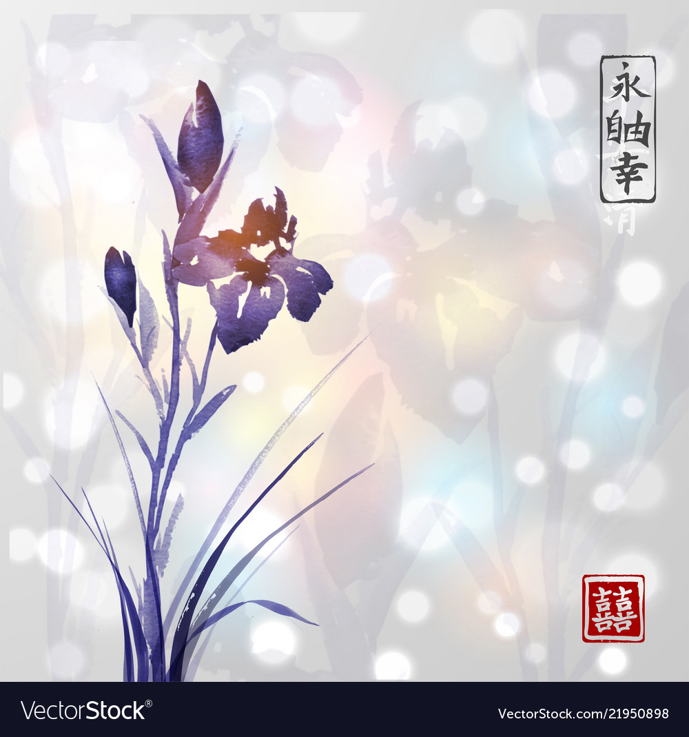 Iris Flower Hand Drawn With Ink On White Glowing Vector Image