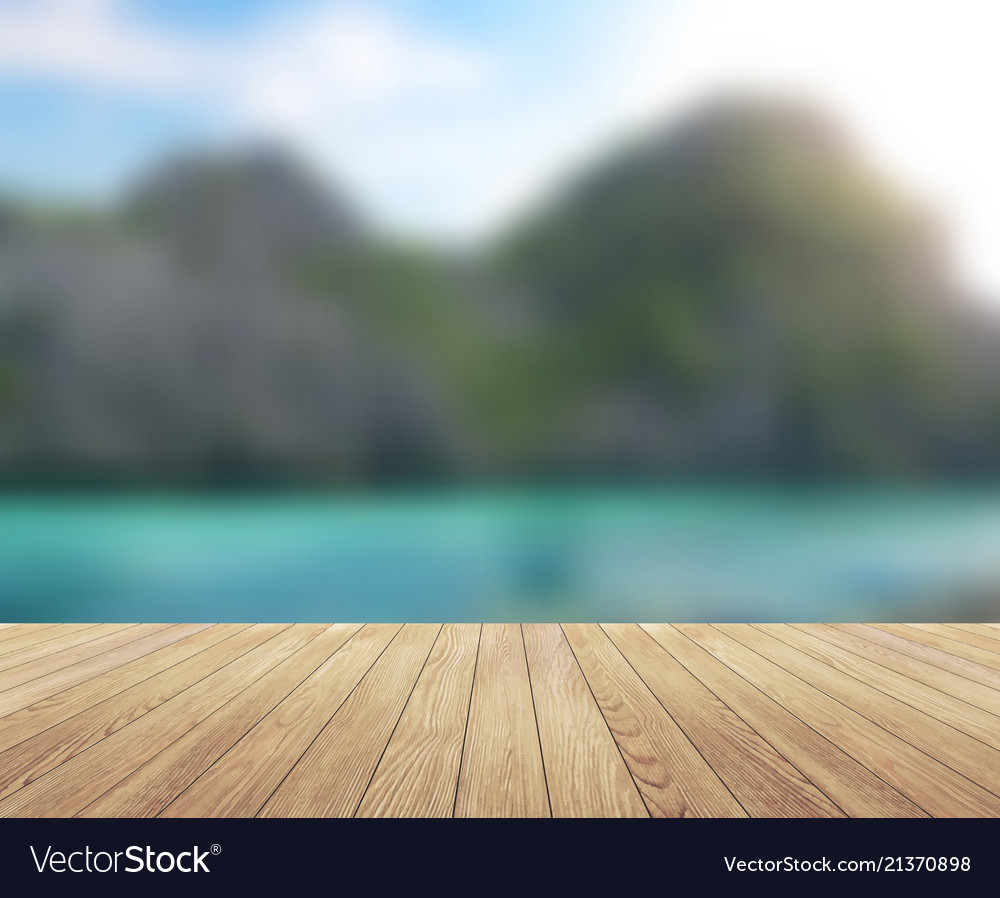 Island blue sky with clouds and wood planks floor