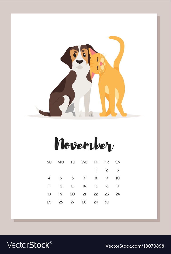 November Dog 2018 Year Calendar Royalty Free Vector Image