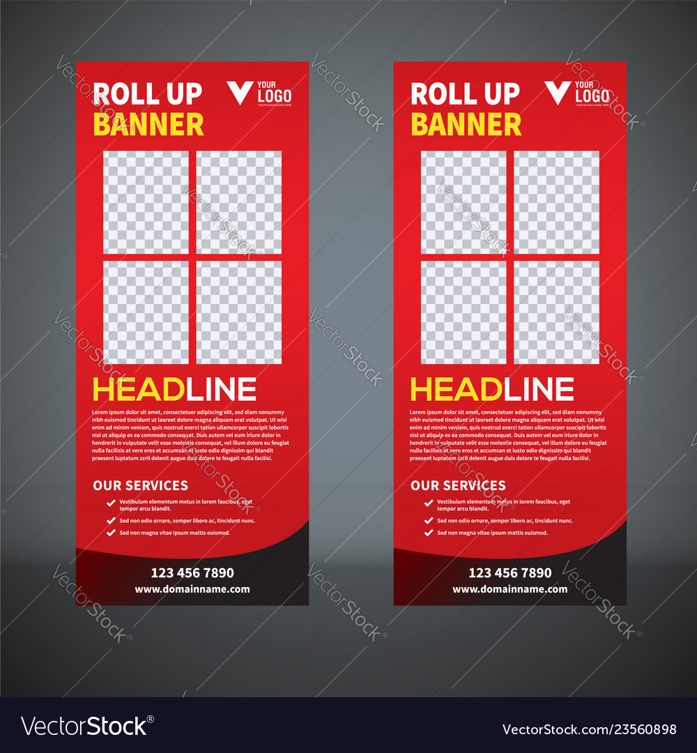 Roll Up Banner Pull Up Banner X Banner Modern V Vector Image