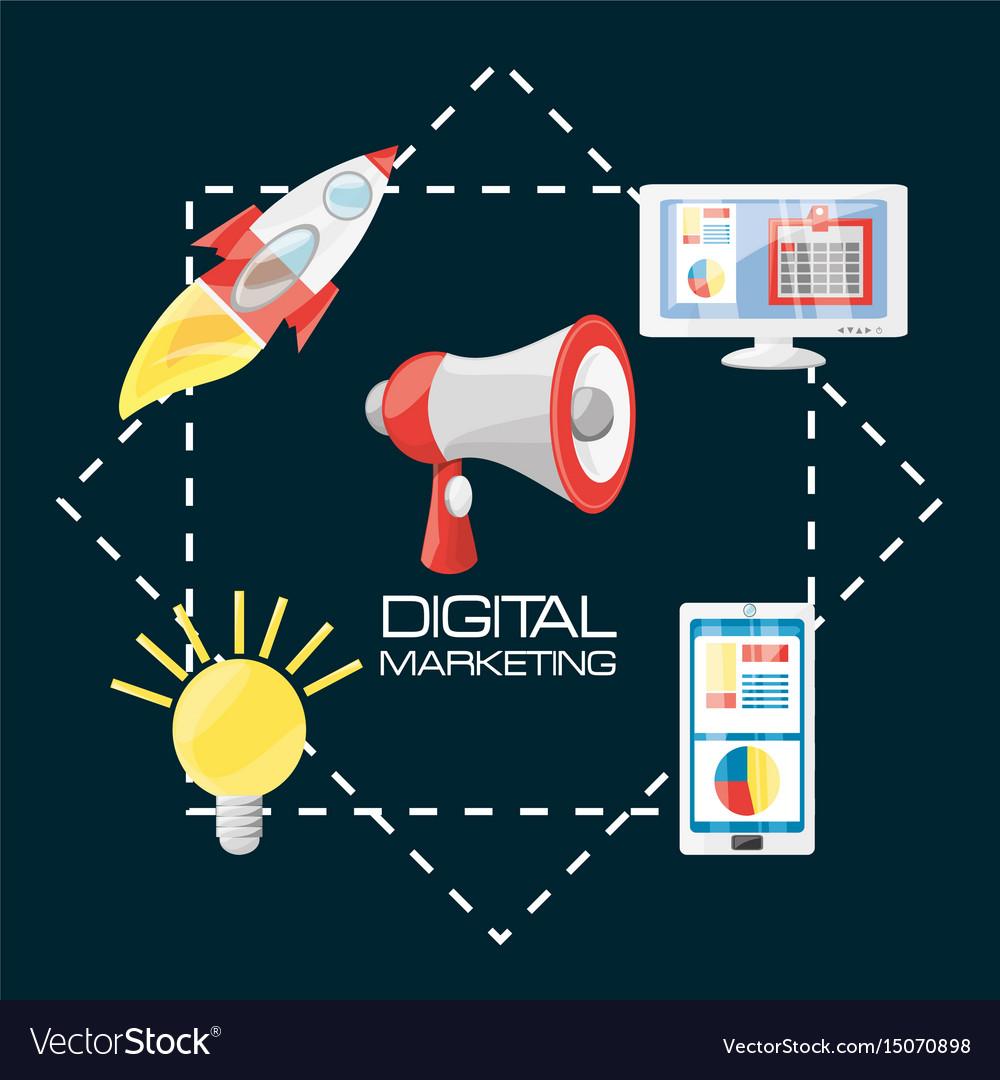 Smartphone rocket bulb and computer digital