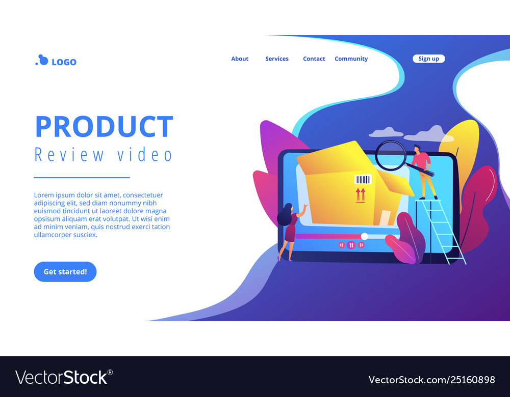 Unboxing video concept landing page