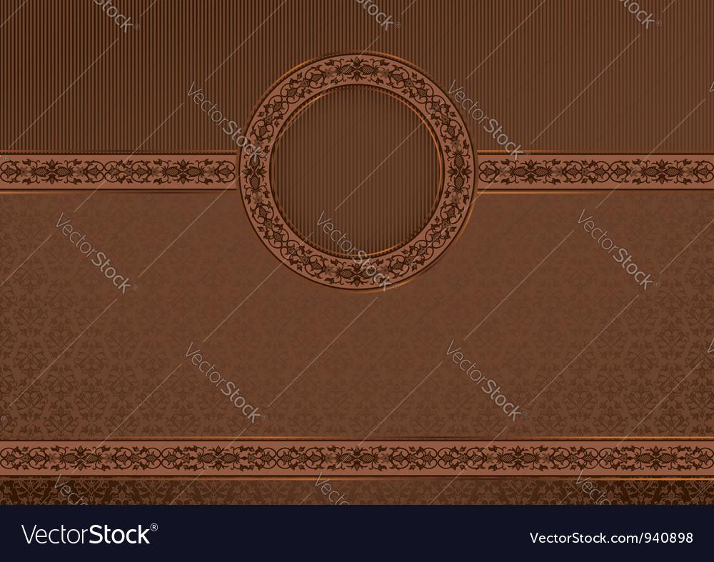 Vintage horizontal card on damask background vector image