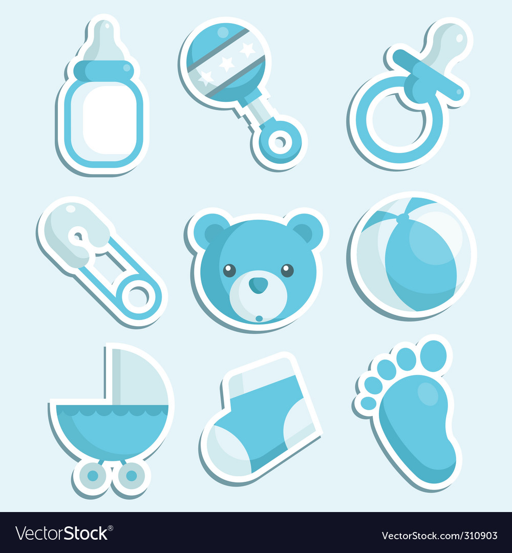 Baby boy icons vector