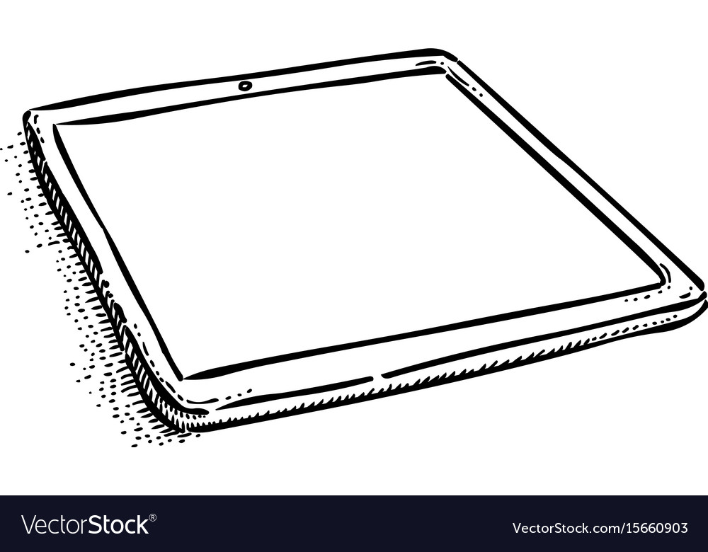 Cartoon image of tablet computer with blank screen