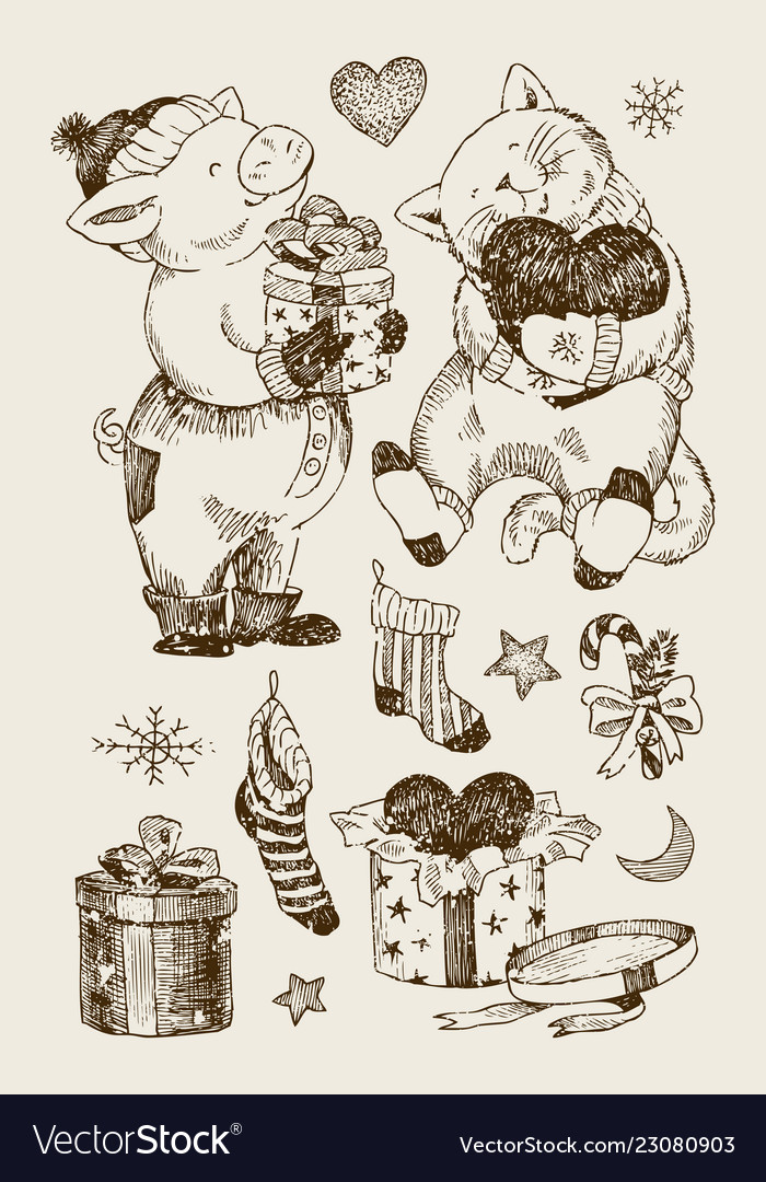 Christmas set bear rabbit and gifts with stars