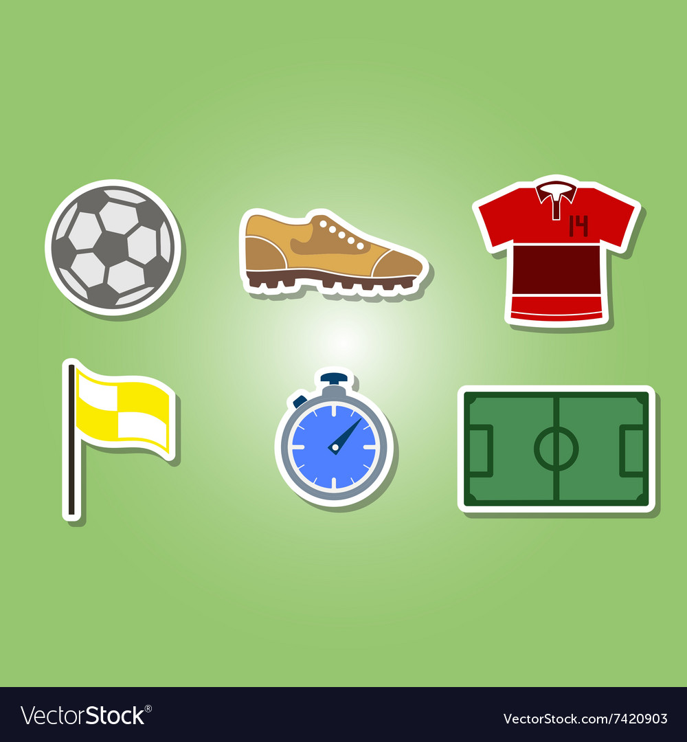 Color set with soccer icons vector image