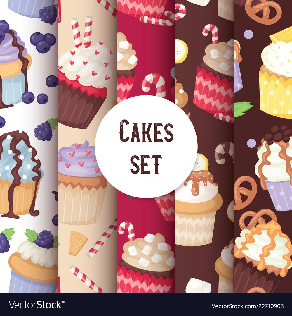 Cupcake seamless pattern cute cake food background