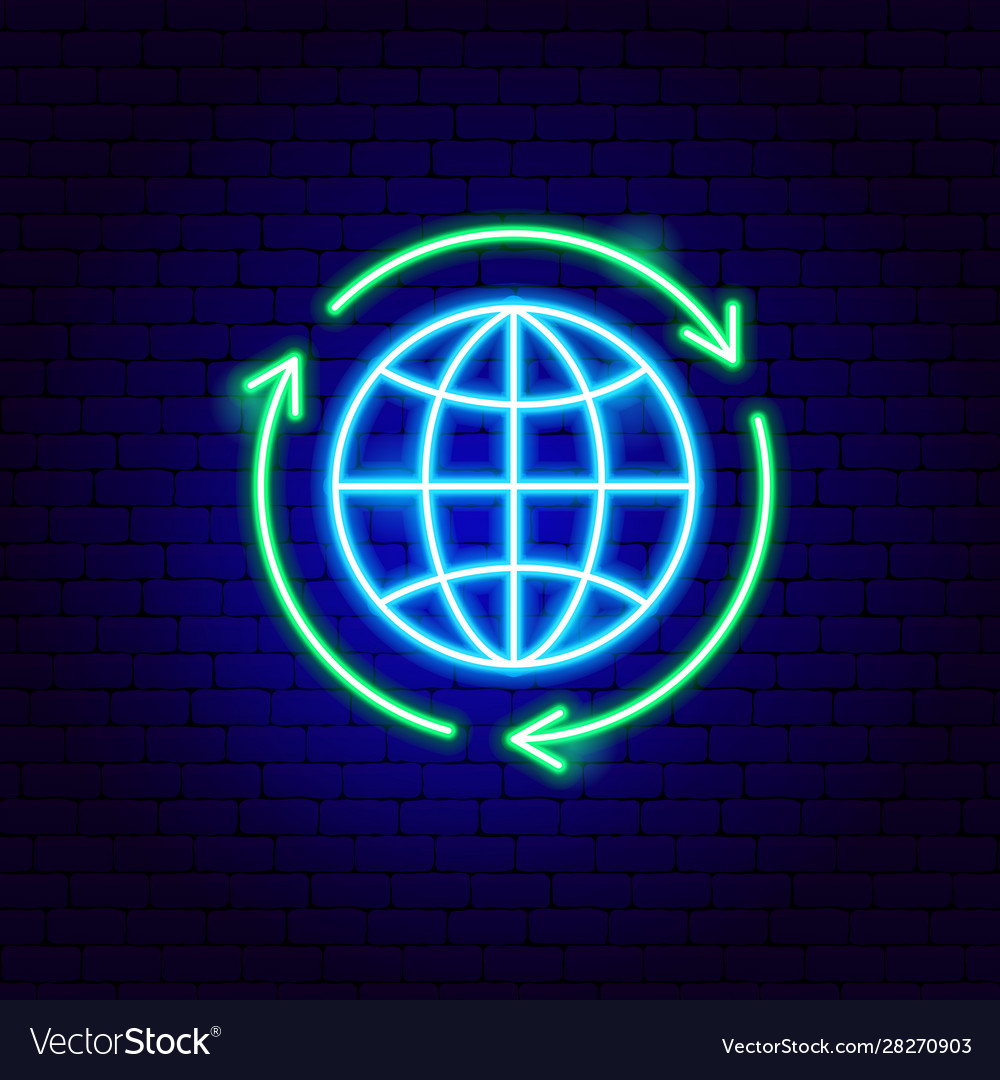 Global recycling neon sign