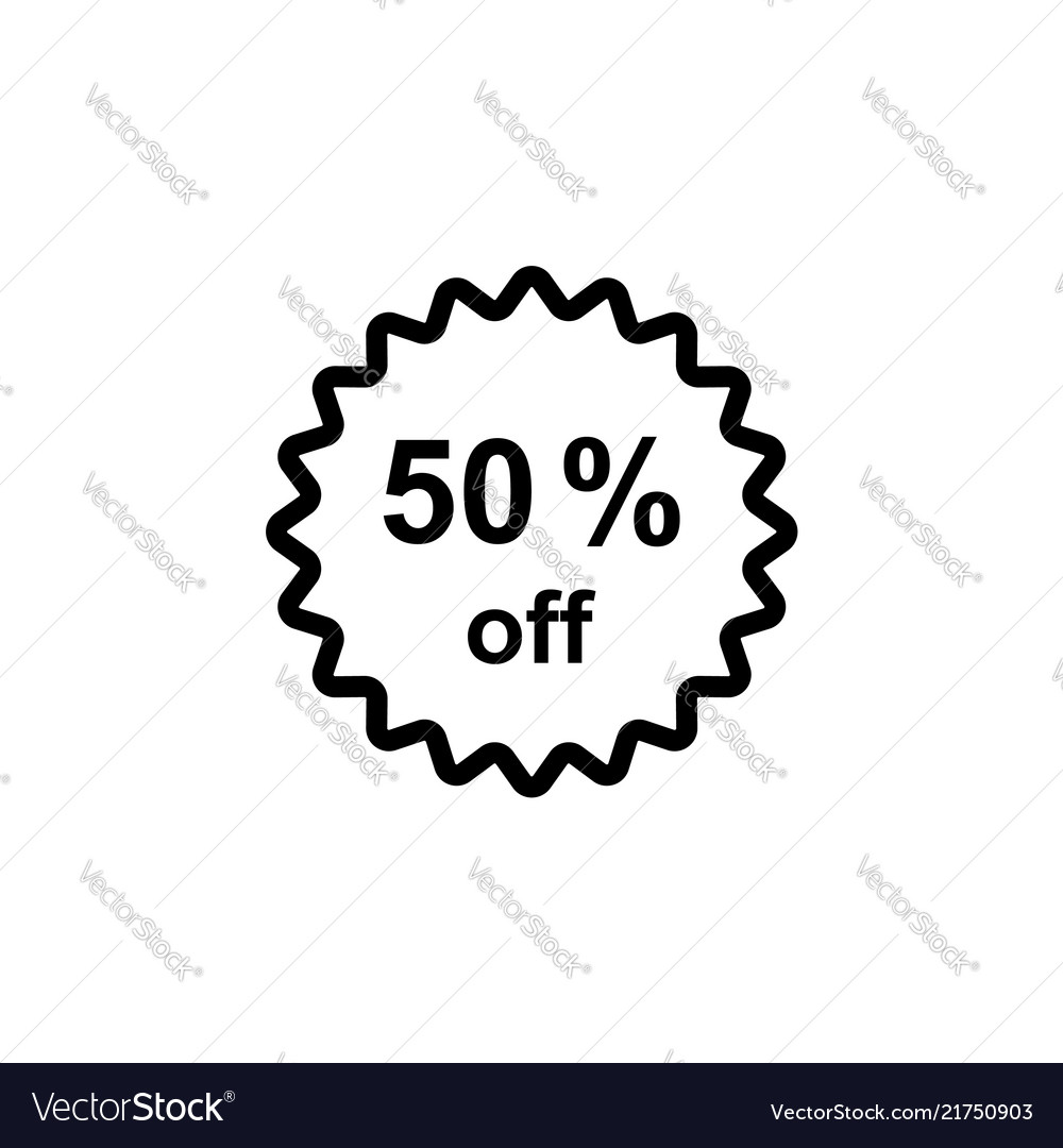 Half price tag 50 off icon black on white