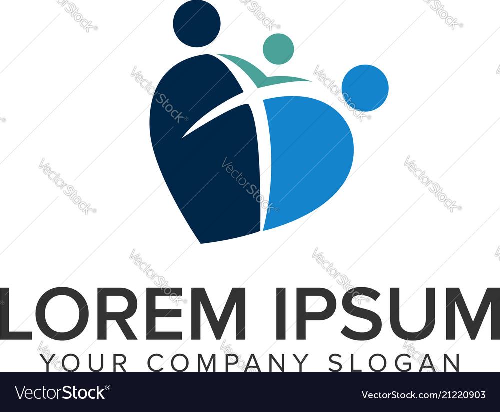 Love family logo design concept template