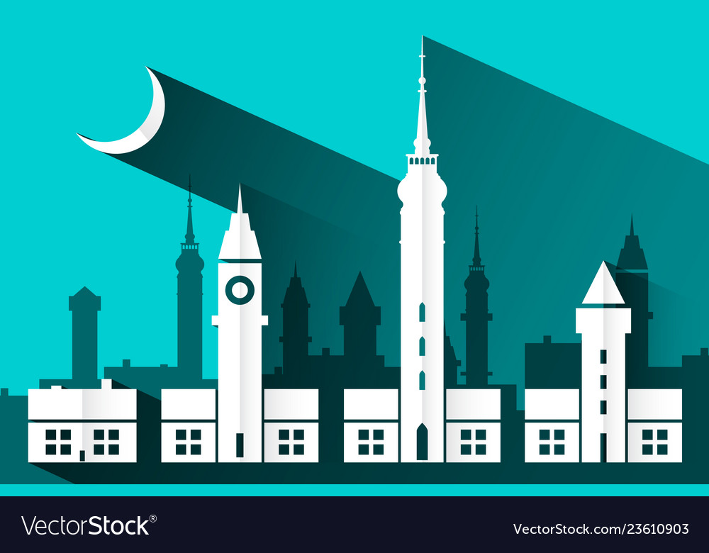 Paper cut building flat design abstract city with