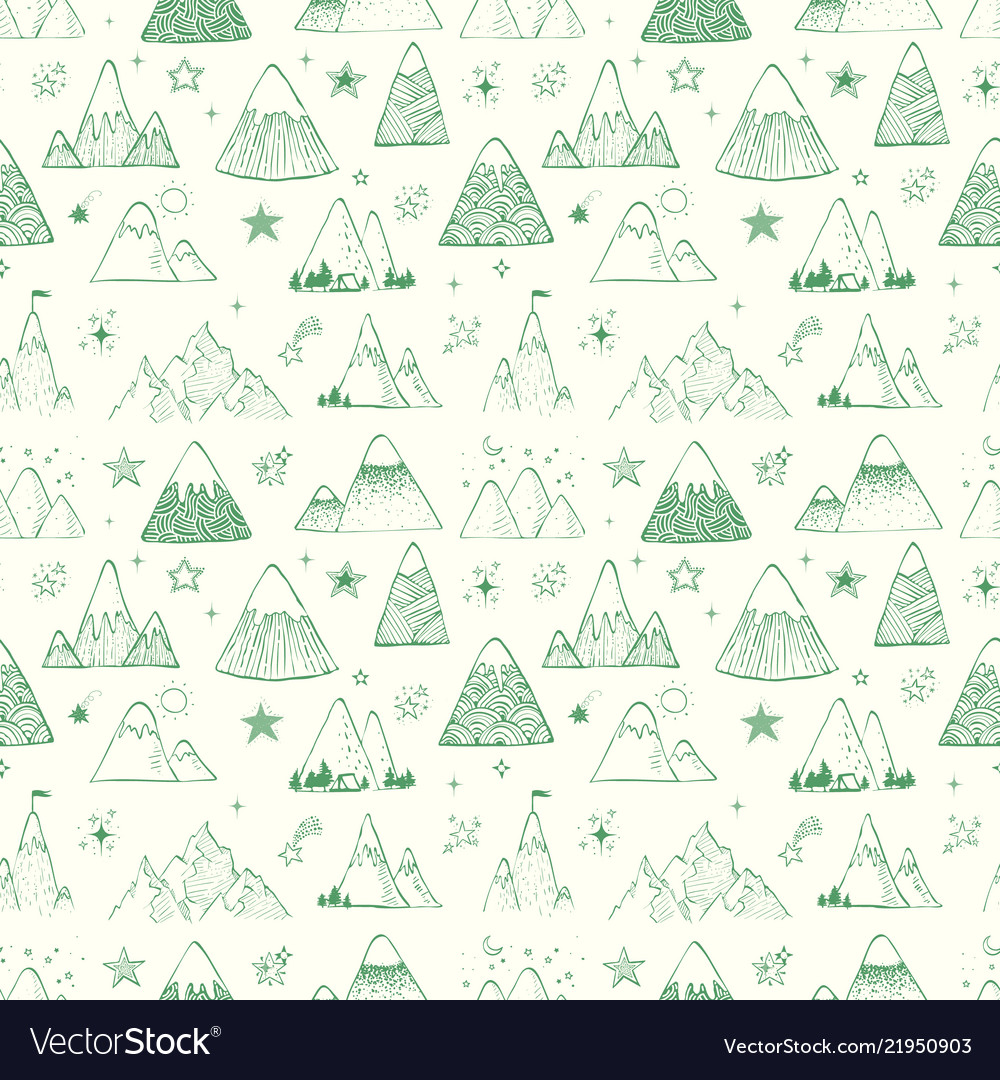Seamless pattern with mountains and stars can be
