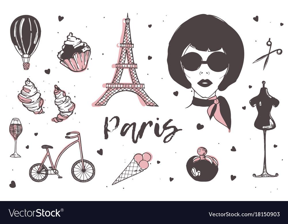 Set of paris and france elements - stylish