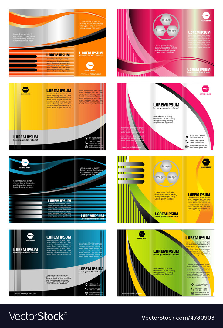 set of tri fold brochure template leaflet layout vector
