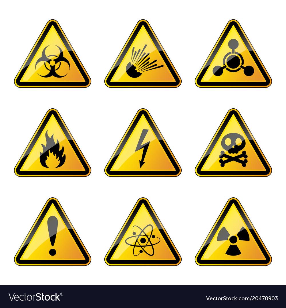 Set of warning danger signs