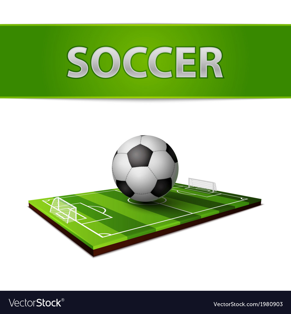 Soccer ball and grass field emblem vector image