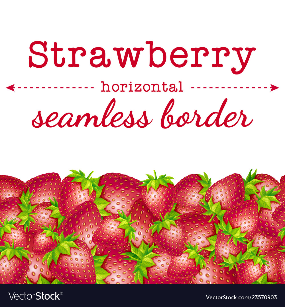 Strawberry berries horizontal seamless border