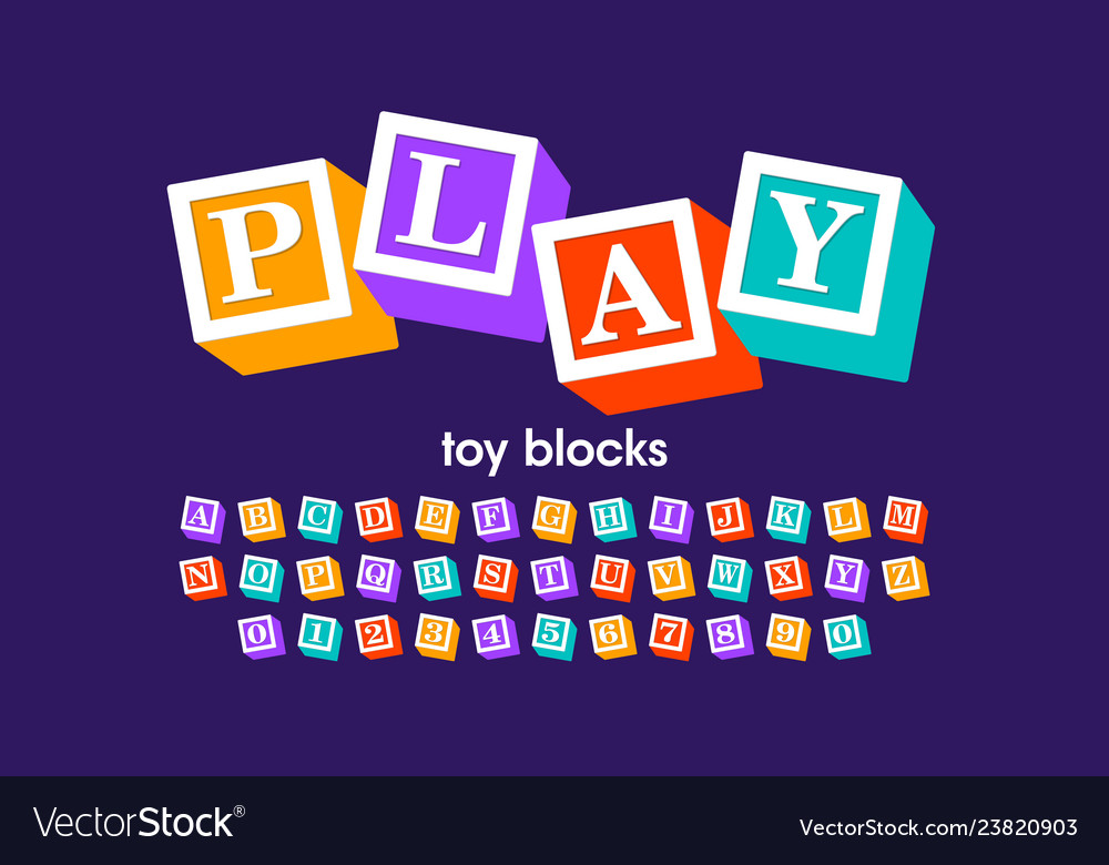 Alphabet Box Letter Font.Toy Blocks Font Alphabet Letters And Numbers
