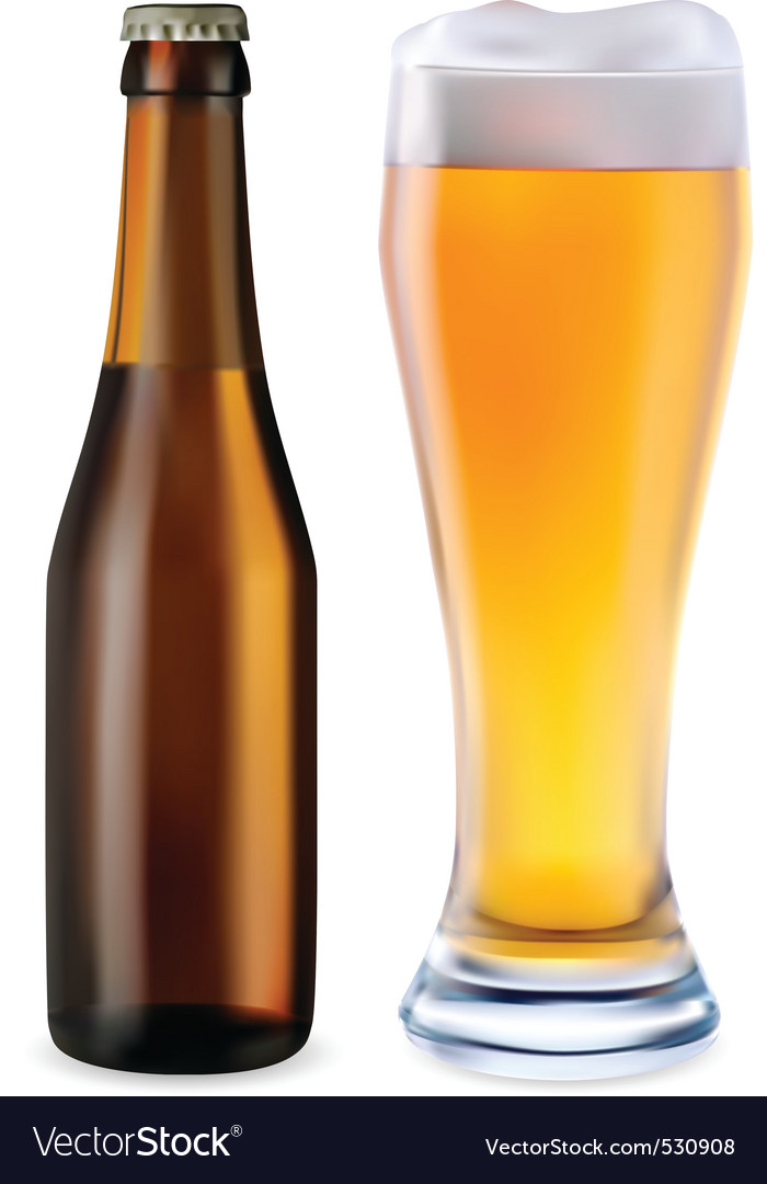 Beer bottle and glass