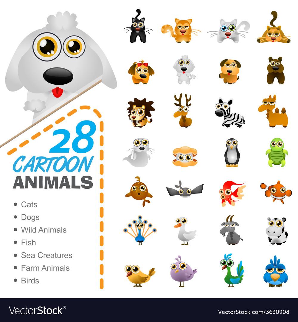Big set various cartoon animals and birds