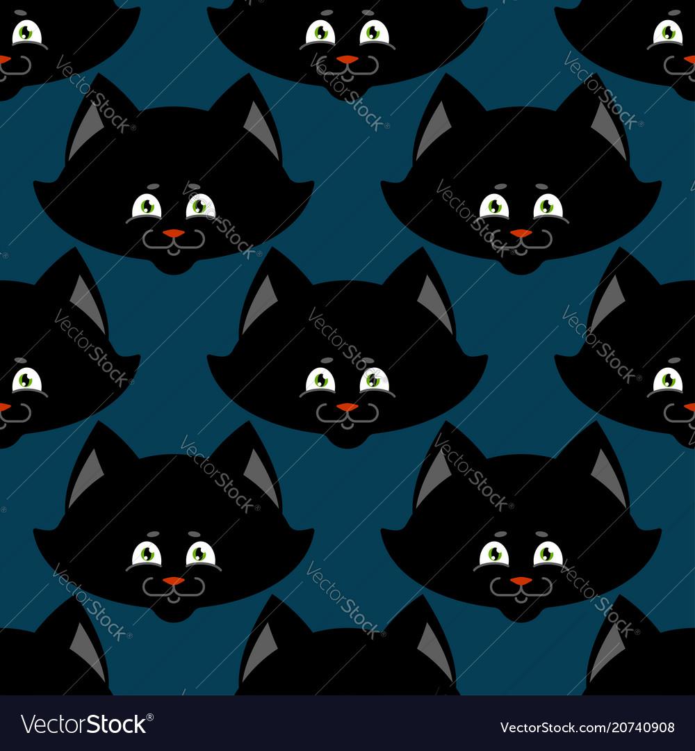 Black cat seamless pattern pet ornament animal