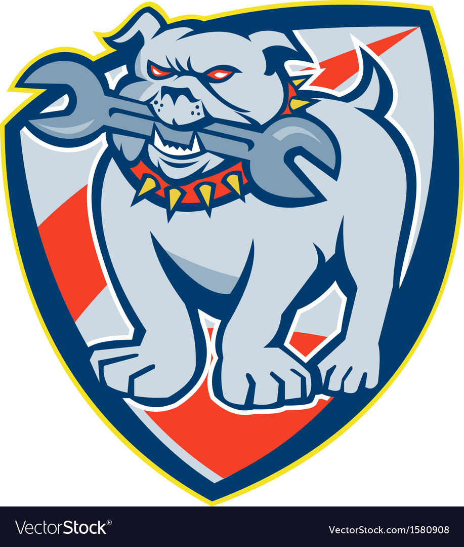 Bulldog Spanner Mascot Shield vector image